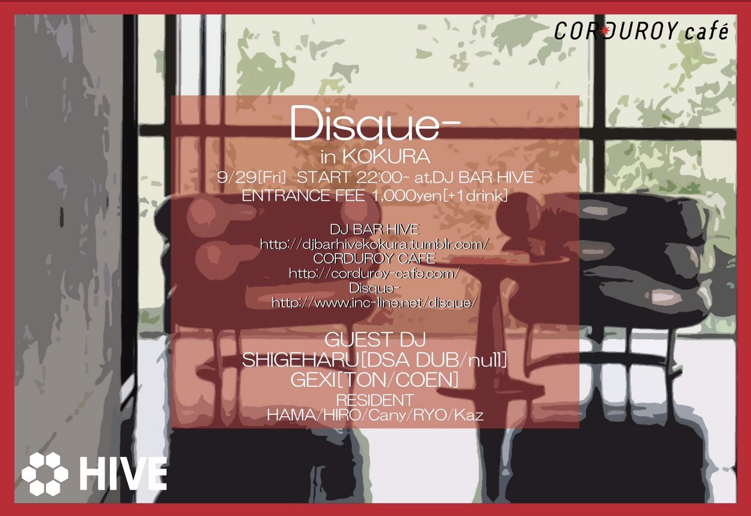 Disque- in KOKURA @DJ BAR HIVE